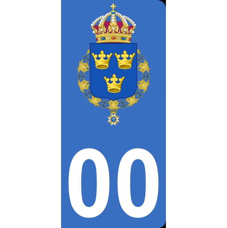 Autocollants armoiries de Suède pour plaque immatriculation numéro au choix