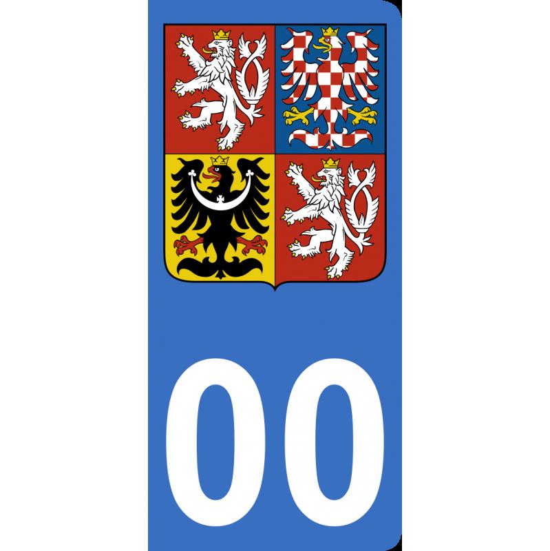 Autocollants blason de Tchéquie pour plaque immatriculation numéro au choix
