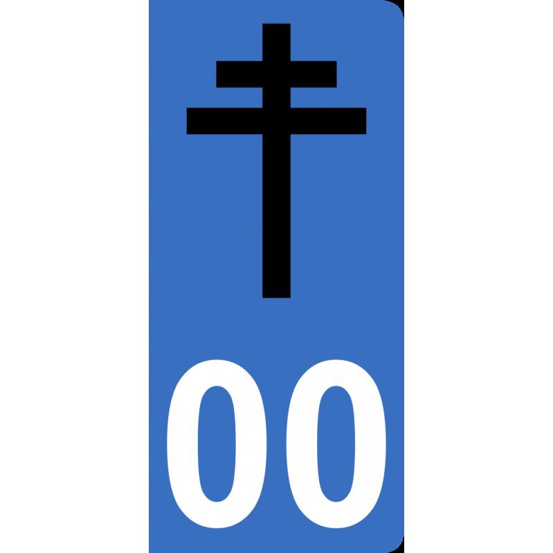 Autocollants croix de Lorraine pour plaque immatriculation numéro au choix