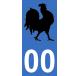 Autocollants coq français pour plaque immatriculation numéro au choix