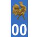 Autocollants coq français doré pour plaque immatriculation numéro au choix