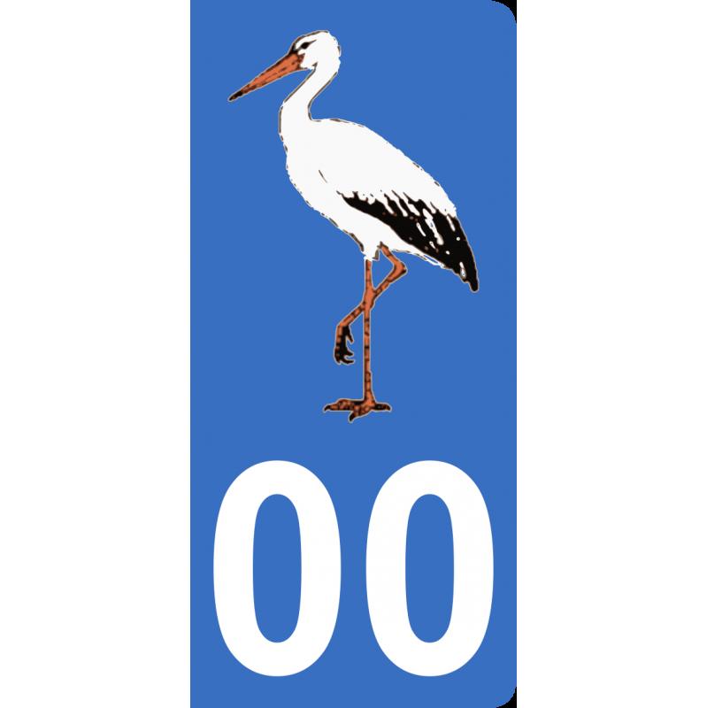 Autocollants cigogne d'Alsace pour plaque immatriculation numéro au choix
