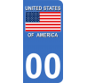 Autocollants drapeau Stars and Stripes des Etats-Unis pour plaque immatriculation numéro au choix