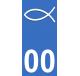 Autocollants Ichthus pour plaque immatriculation numéro au choix