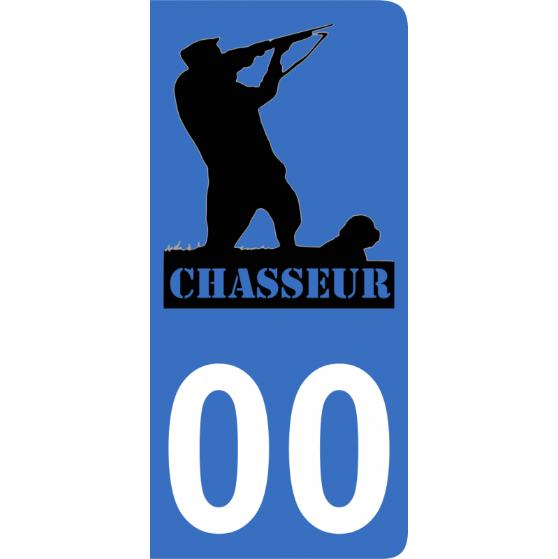 Autocollants chasseur 1 pour plaque immatriculation numéro au choix