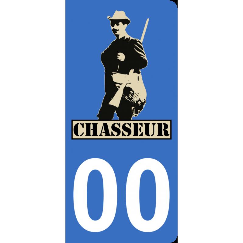 Autocollants chasseur 2 pour plaque immatriculation numéro au choix