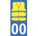Autocollants gilet jaune pour plaque immatriculation numéro au choix