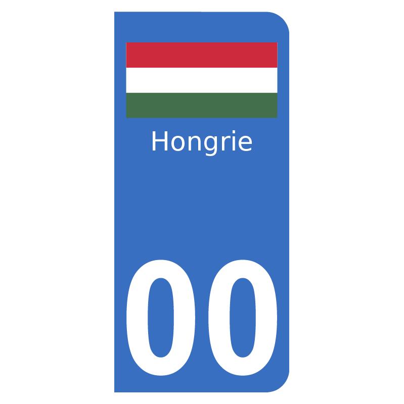 Autocollants drapeau de Hongrie pour plaque immatriculation numéro au choix