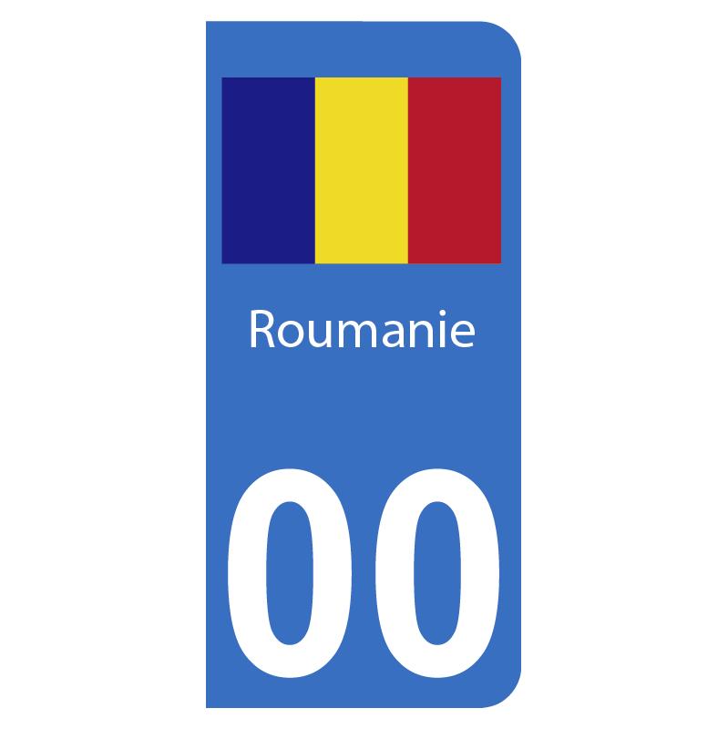 Autocollants drapeau de Roumanie pour plaque immatriculation numéro au choix