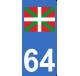 Autocollants avec drapeau Basque pour plaque d'immatriculation