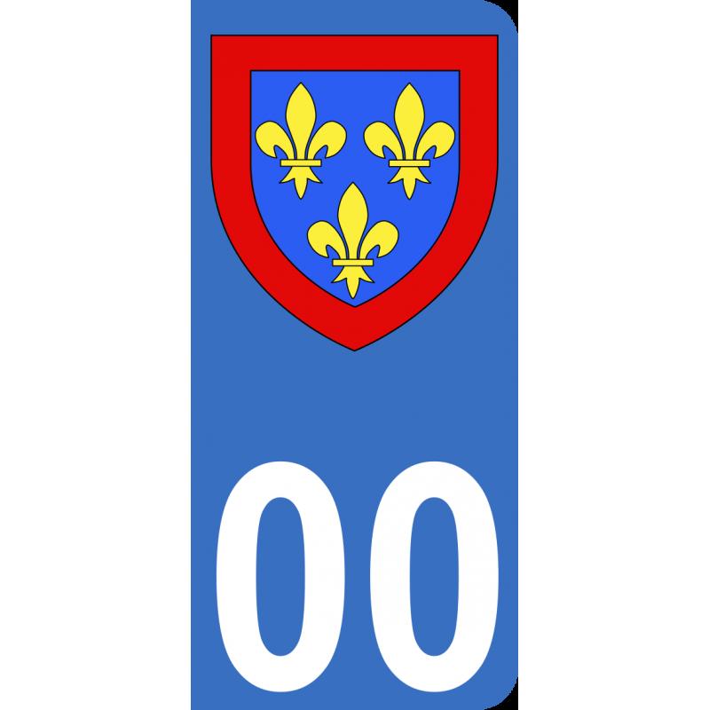 Autocollant Province d'Anjou pour plaque immatriculation numéro au choix
