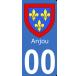 Autocollant Province d'Anjou avec texte pour plaque immatriculation numéro au choix