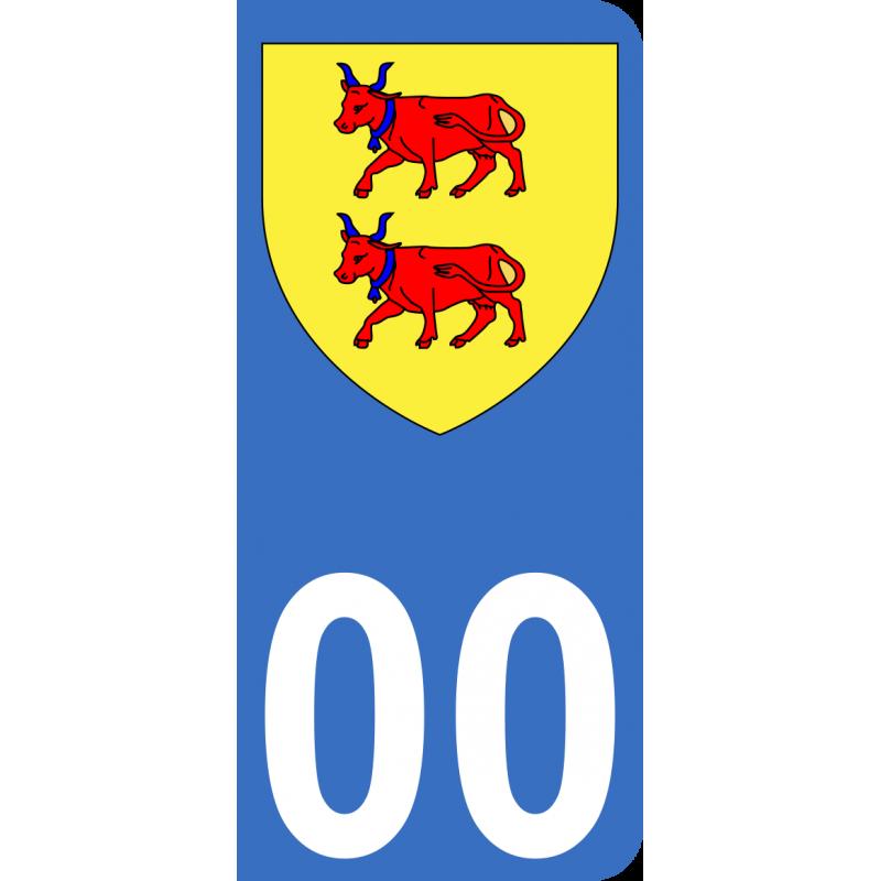 Autocollants Province du Béarn pour plaque immatriculation numéro au choix