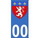 Autocollant Province du Lyonnais pour plaque immatriculation numéro au choix