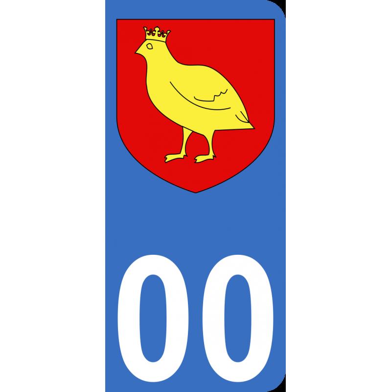Autocollant Province de l'Aunis pour plaque immatriculation numéro au choix