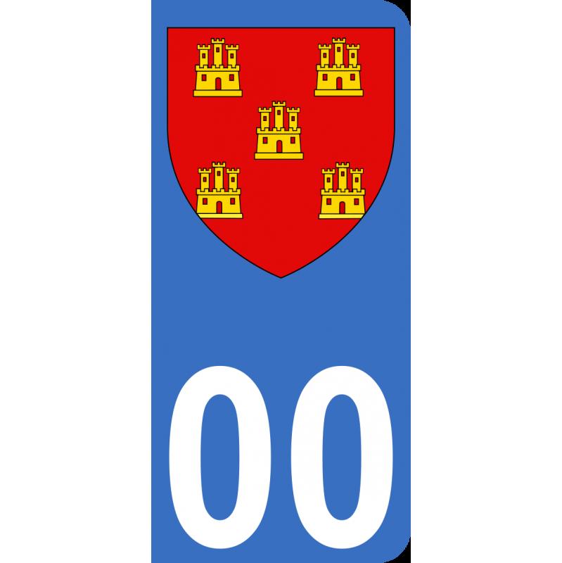 Autocollants Province du Poitou pour plaque immatriculation numéro au choix