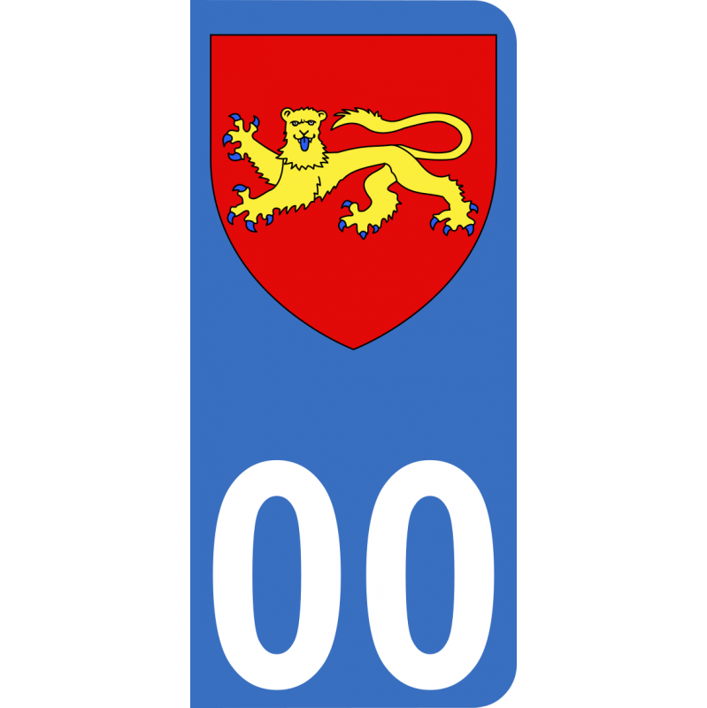 Autocollants Province d'Aquitaine pour plaque immatriculation numéro au choix