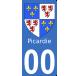 Autocollants Province de Picardie pour plaque immatriculation numéro au choix