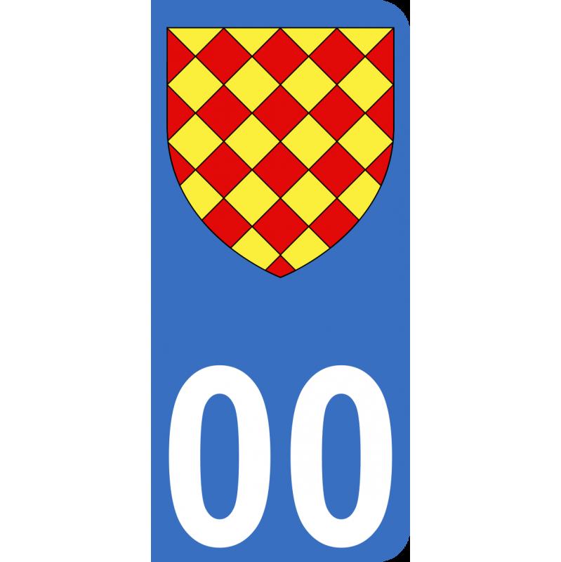Autocollants Province d'Angoumois pour plaque immatriculation numéro au choix