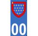 Autocollants Province du Maine pour plaque immatriculation numéro au choix