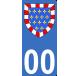 Autocollants Province de Touraine pour plaque immatriculation numéro au choix