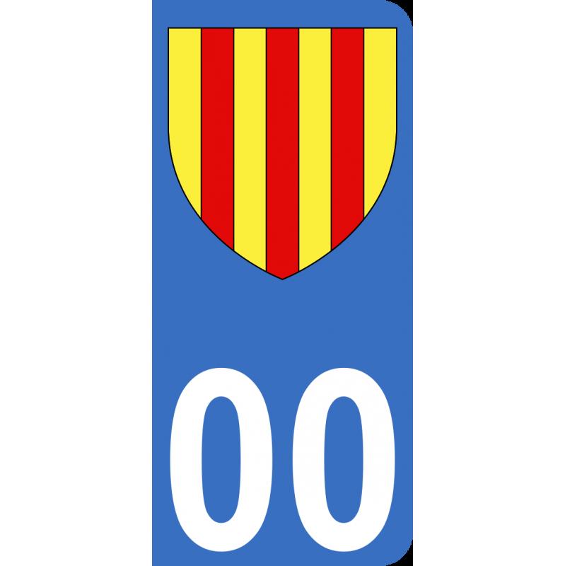 Autocollants Province de Foix pour plaque immatriculation numéro au choix
