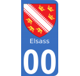 Autocollants Province d'Alsace pour plaque immatriculation numéro au choix