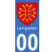 Autocollant Province du Languedoc pour plaque immatriculation numéro au choix