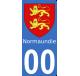 Autocollant Province de Normandie pour plaque immatriculation numéro au choix