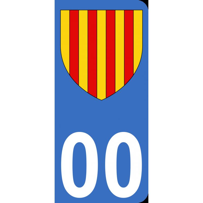 Autocollants Province du Roussillon pour plaque immatriculation numéro au choix
