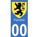 Autocollants Province de Flandre pour plaque immatriculation numéro au choix