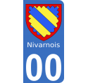 Autocollants Province du Nivernais pour plaque immatriculation numéro au choix
