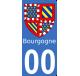 Autocollants Province de Bourgogne pour plaque immatriculation numéro au choix