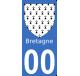 Autocollants Province de Bretagne pour plaque immatriculation numéro au choix