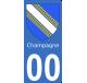 Autocollants Province de Champagne pour plaque immatriculation numéro au choix