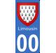 Autocollants Province du Limousin pour plaque immatriculation numéro au choix