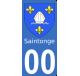 Autocollant Province de Saintonge pour plaque immatriculation numéro au choix
