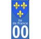 Autocollant Province d'Ile-de-France pour plaque immatriculation numéro au choix