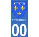 Autocollant Province de l'Orléanais pour plaque immatriculation numéro au choix