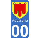 Autocollants Province d'Auvergne pour plaque immatriculation numéro au choix