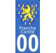 Autocollants Province de Franche-Comté pour plaque immatriculation numéro au choix
